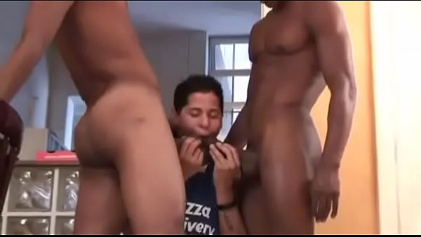 Threesome orgy with two black guys