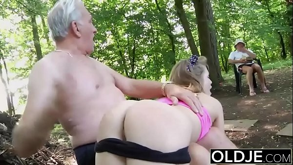 Naughty Teen Ass Spanking by Grandpa And Kiss Fucked with cumshot swallow Thumb