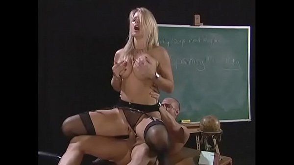 Busty Blonde Teacher Strips And Sucks Balding Guy's Average-sized Cock Before Hard Anal Fucking