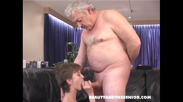 Girl sucks cock from old man