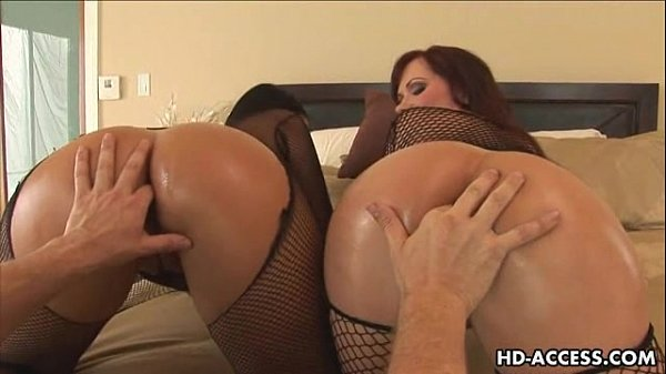 Two anal babes share a hard cock