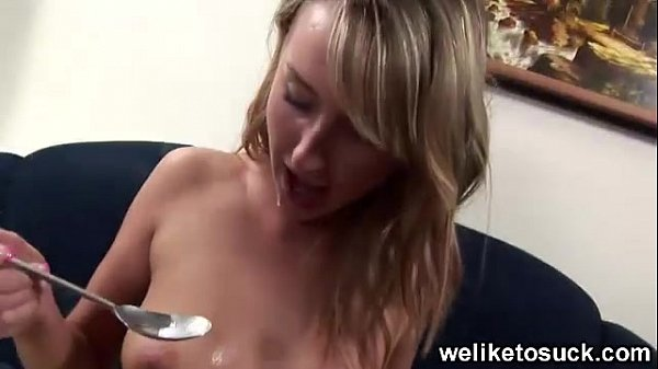 Eating cum from a spoon