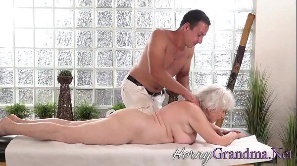 Old granny takes facial Thumb
