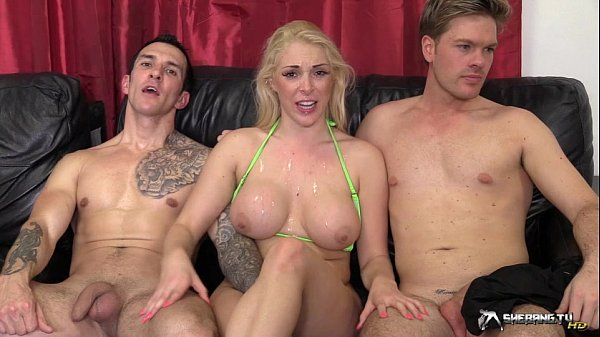 Hot blonde gangbanged in her living room Thumb