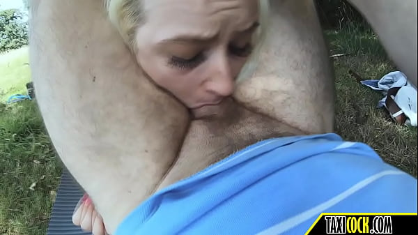 sex with a busty blonde in the woods