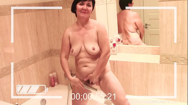 OLD lady takes HOT shower