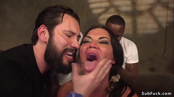 Tied huge tits Milf group fucked