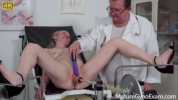 Freaky doctor examines wet pussy of horny granny with vaginal prolapse