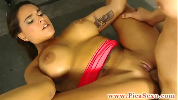 Busty chica filled up in trio with two studs hard dicks