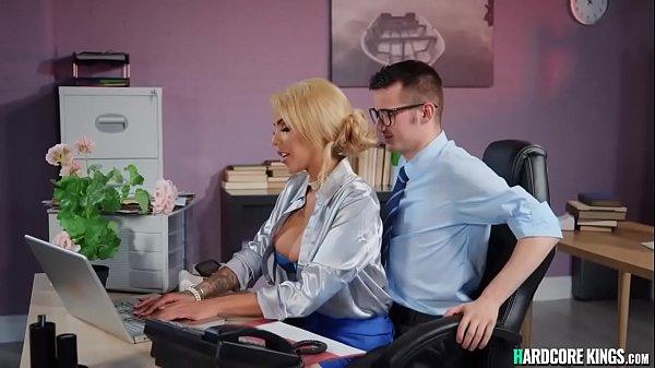 Young employee fucks big boobs boss