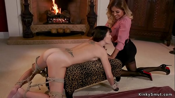 Tied up lesbian spanked and butt plugged