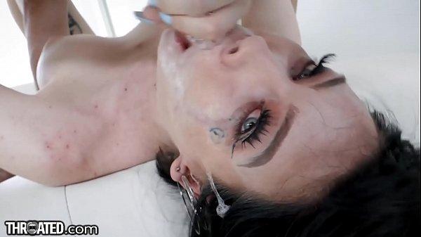 Throated - Big Titty Goth GF Swallows Dick Whole