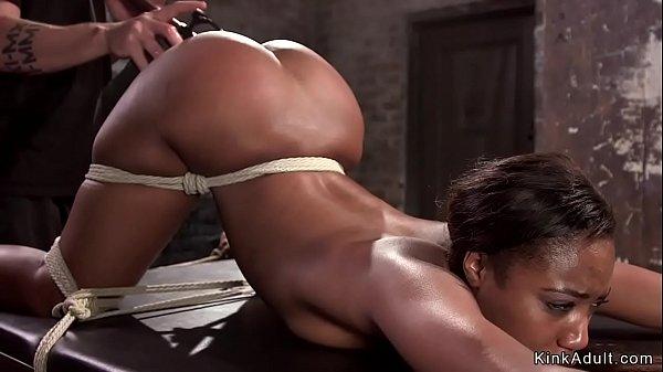 Anal hooked ebony slave toyed