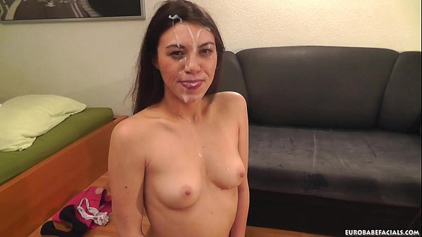 Brunette Tiffany Doll is face fucked before receiving a sticky facial