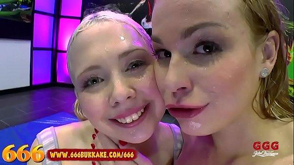 Cute blonde piss partners swallow cum - 666Bukkake