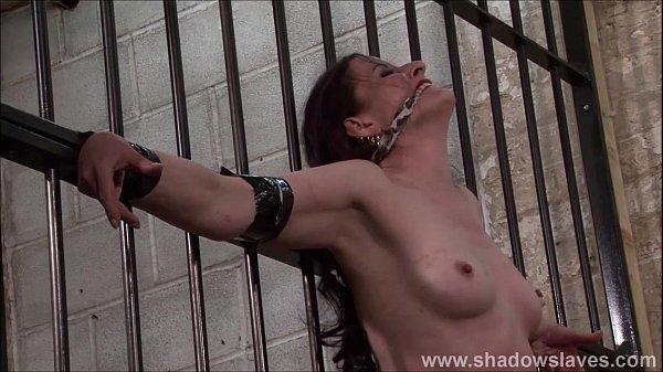 Slave Caroline Pierces frontal whipping and tied dungeon bondage of spanked feti