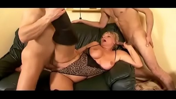 Granny double penetrated by young men