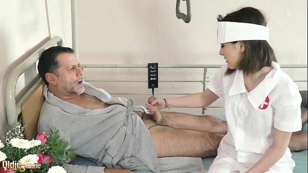 Teen nurses fuck old grandpa in a fake hospital bed and give sloppy blowjob Thumb