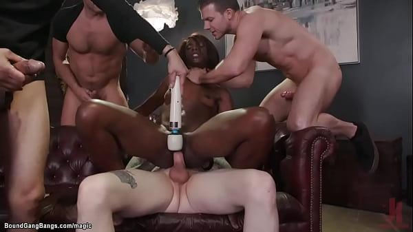 Ebony whipped and group fucked