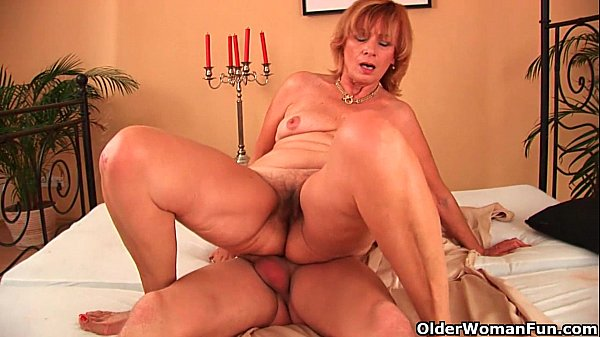Plump grandma fucks her toy boy's cock with her unshaven pussy Thumb