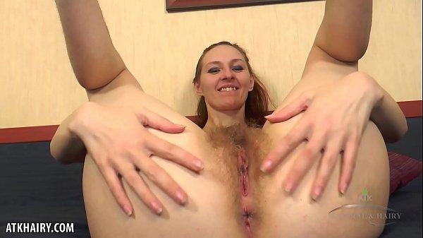 Skinny slut Ariadna Moon plays with hairy twat Thumb