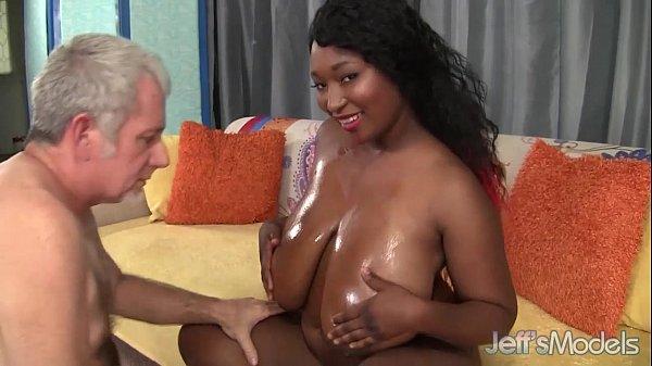 Big Boobed black girl takes fat white cock