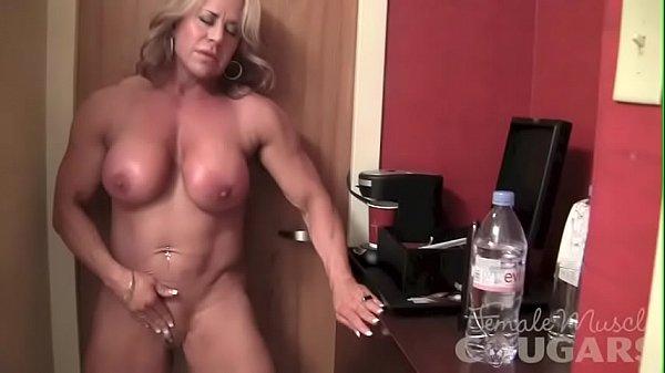 Mature Female Bodybuilder Poses and Masturbates