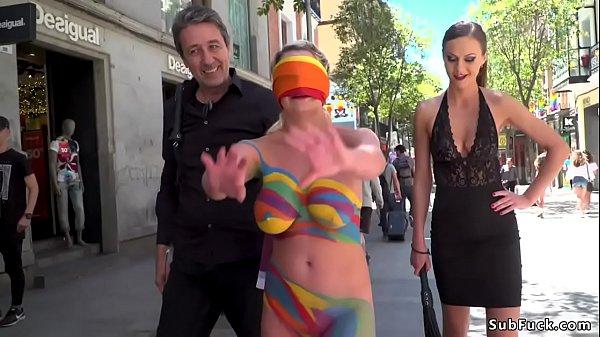 Body painted nakes slut in public Thumb