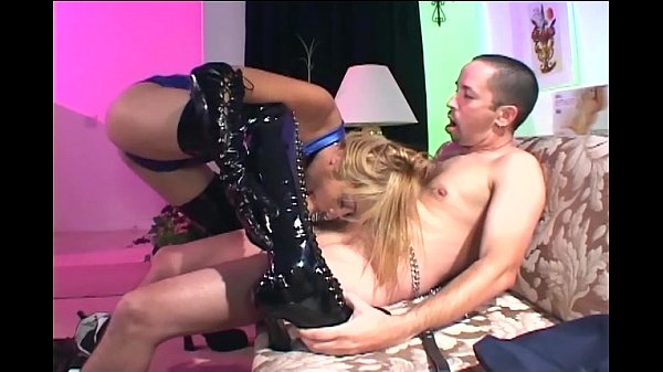 Sex in shiny black thigh high boots and gloves Thumb