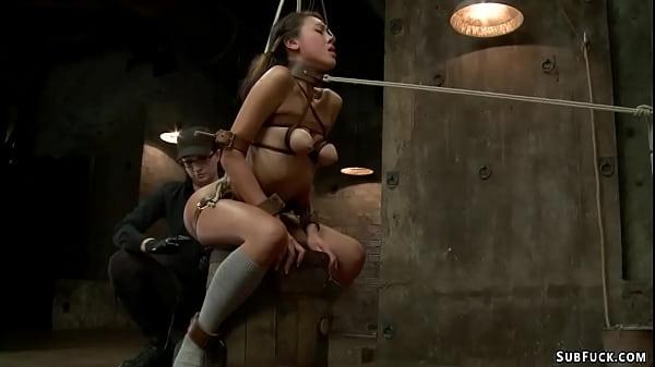 Asian lesbian anal fucked on hogtie