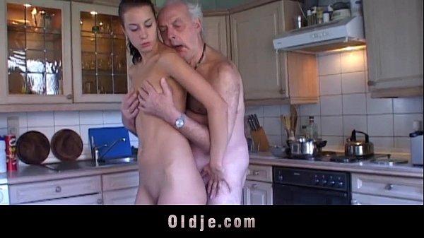 Fetishist brunette licking wrinkled old man Thumb