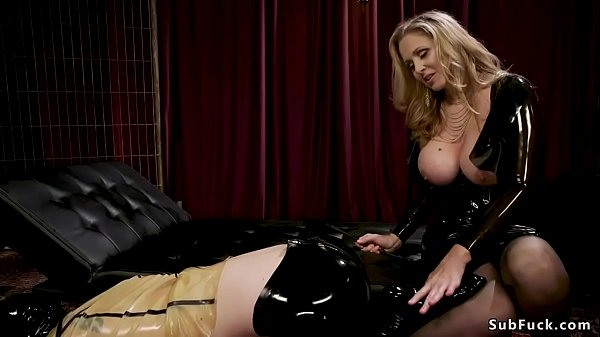 Male in bondage whipped by dominatrix