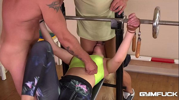 Gym fuck shows BDSM slut Selvaggia double penetrated, bound & spanked