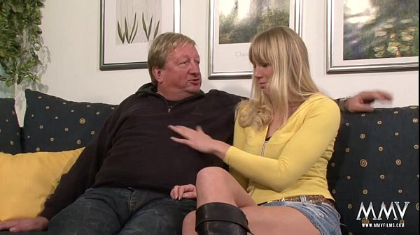 Horny blonde babe does old guy a favour