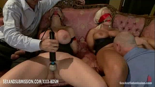 Two gentlemens dominate the two bondage girls