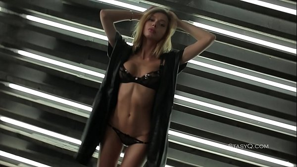 Delicate blonde cutie teasing in sexy black lingerie Thumb