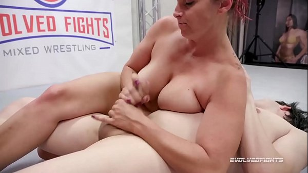 Bella Rossi mixed sex wrestling gives a handjob then Strapon Fucks the loser Thumb