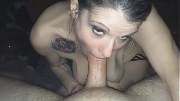 mature with saggy tits making a blowjob