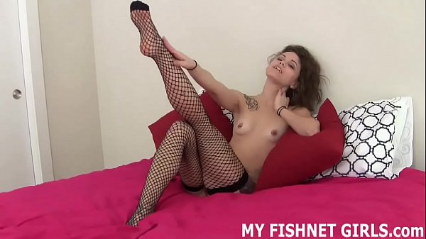 Rub your hard cock on my fishnet body stocking JOI Thumb