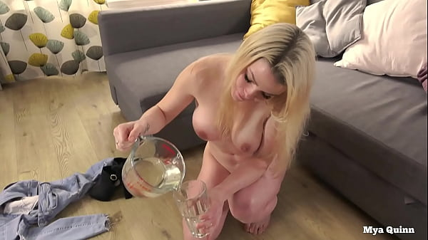 Mya Quinn mixing and drinking piss cocktail wearing anal plug