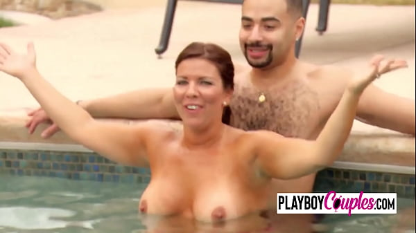 Couples meet up by the pool before having the hottest swingers party