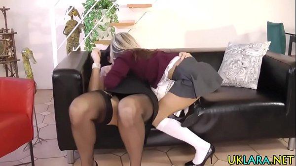 Lez stockings fingered