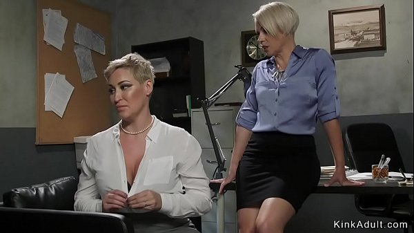 Lesbian divorce lawyer whips Milf client