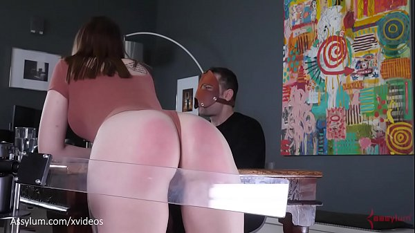 Brutal spanking machine paddles hot PAWGs ass during dinner while sadistic man feasts (Jessica Kay)