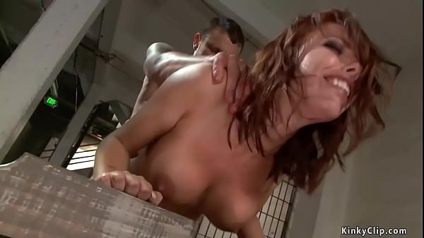Bound busty officer anal fucked