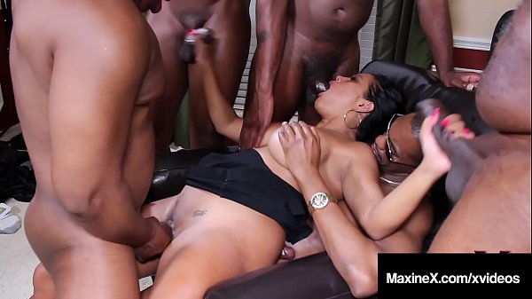 Oriental Orgy! Asian Maxine X Butt Fucks With 6 Black Cocks! Thumb