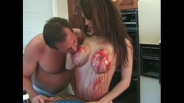 Food fetish scene with a lusty babe Kianna Bradley fucking her guy in the kitchen