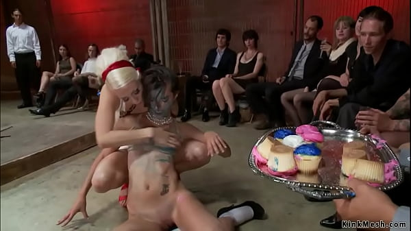 Bound slut messed by food in public