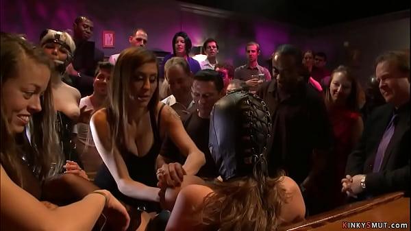Busty sluts rough banged in public