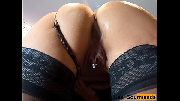 MILF in lingerie fucked standing up and creampied